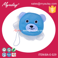 2015 eco friendly animal back scrubber shower mesh sponge puff balls wholesale product BA-E-029