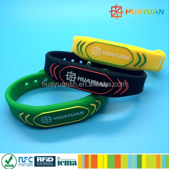 Passive Waterproof RFID silicone wristband with NTAG213/215/216 Chip