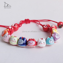 fashion Porcelain natural stone bead Bracelet lucky cat Ceramic Beaded Bracelet for women charms bracelet