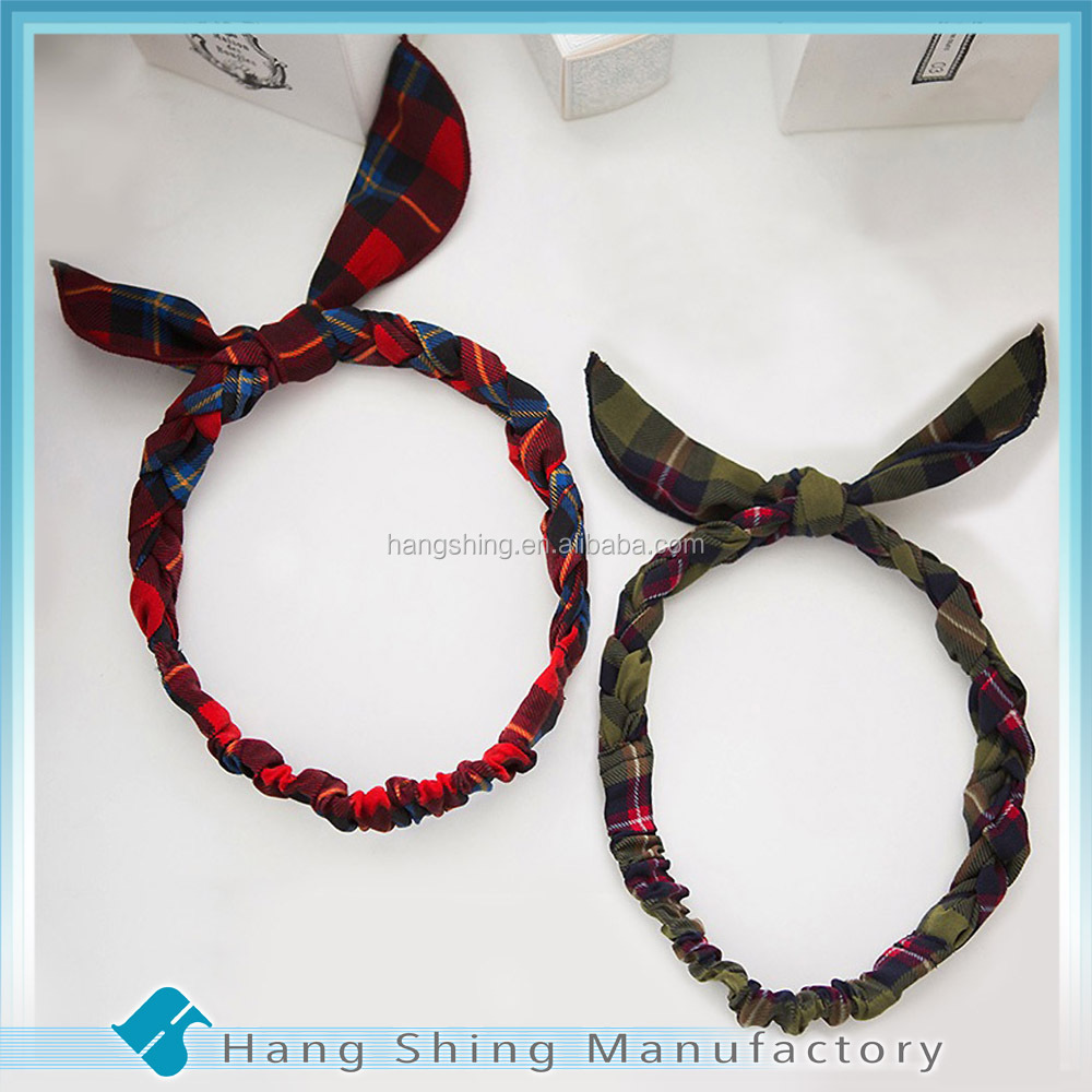 Hair accessories manufacturers - Hair Accessories Manufacturers China Girls Tartan Plaid Bow Headband