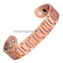 XHT Pure copper adjustable bracelets bangles plain with magnet, FIR, ion