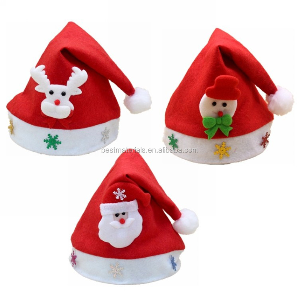 Snowflake Printing Party Costume Red Velet Xmas Christmas Hat