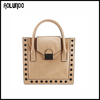 Simple Style Modern Genuine Leather Woman Tote Bag with Studs