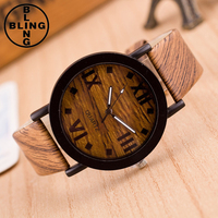 >>>2017 Women Watches Fashion Quartz Leather Watch Female Roman Numerals mujer imitate Wood Analog Quartz Clocks/