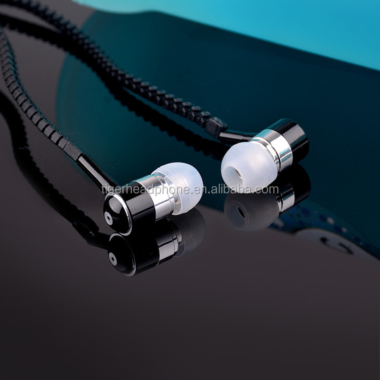 wholesale Glowing in-ear earphone with ziper stereo zipper wired earphone with mic
