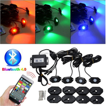 IP67 mobile phone APP Control bluetooth controller rgb led multi-color rock light 4 Pods