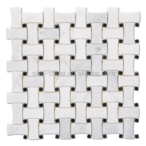 Dog bone basketweave basket weave stone mosaic tile, wh