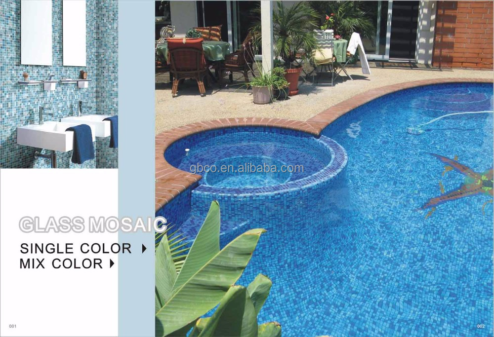 dark blue dots glass mosaic for swimming pool