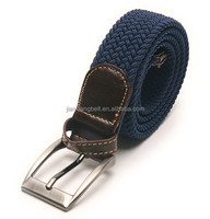 mens cotton fabric canvas plaited pu elastic belts womens polyester belt