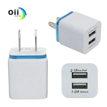 For Iphone Dual USB Wall <strong>Charger</strong> Full 5V 2.1A 1A Travel Adapter US EU plug AC Power Adapter 2 port Colorful Wall <strong>Charger</strong>