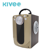 2018 factory price special design glass and MDF material 4 inch usb BT speaker with FM radio