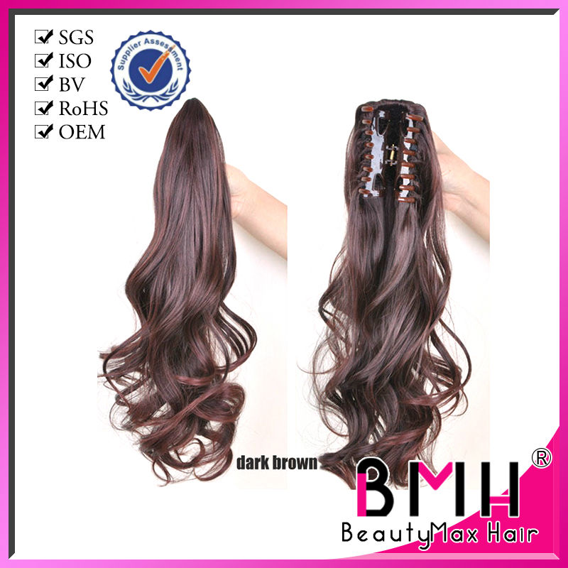 Hot Selling popular body wave clip on ponytail 100% human remy hair claw ponytail