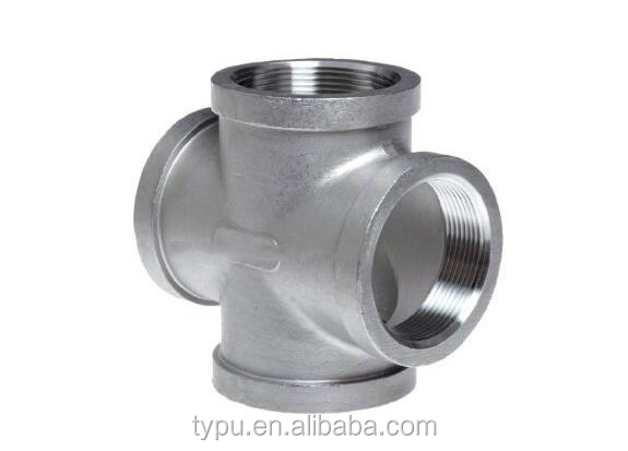 "Stainless Steel Pipe Fittings - Equal Cross 3/4"" NPT Female - 150lb"