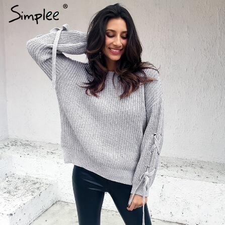 Simplee 2017 casual o neck lace up latest sweater designs for girls for streetwear