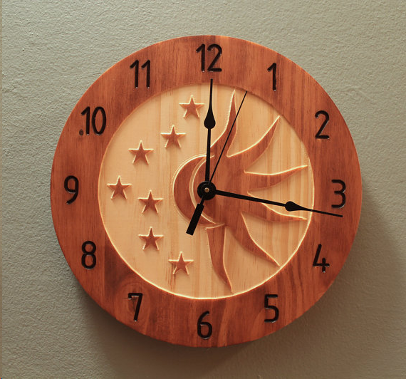 Celestial clock Sun Moon Wooden wall clock for home