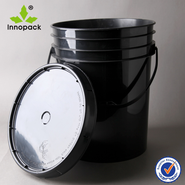 Heavy duty 5 gallon black paint plastic buckets with lids for 5 gallon bucket of paint price