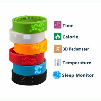USB W2 Smartband Bracelet Time Display Smart Watch with Calorie 3D Pedometer Temperature Sleep Monitor