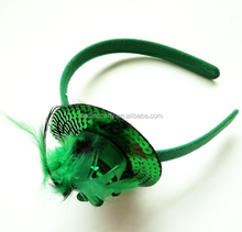 Hot Selling st.Patrick Day Mini Sequin Hat with Feather Headband