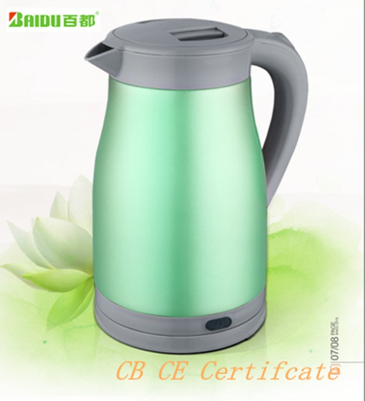Zhongshan Baidu Manufacturer Small Electrical Applaince 1.5L Anti-hot Auto Shut-off Stainless Steel Electric Kettle