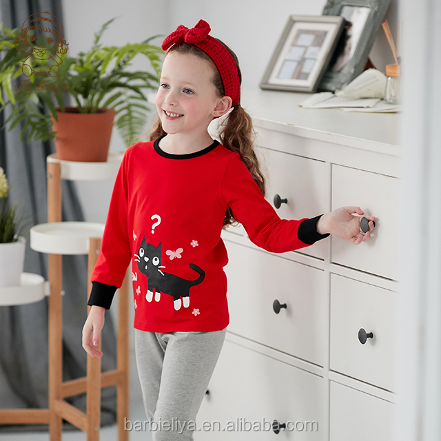 B0916 Wholesale breathable children cloth set Girl long sleeves pajamas for kids