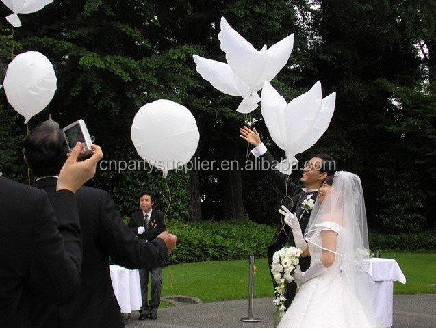 Wedding White Dove Balloons, Eco-Friendly Biodegradable Helium Balloons
