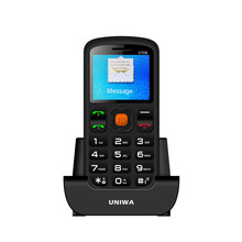 New Products UNIWA V708 Quad Band Cell Phone 1.77 Big Button Dual SIM Senior Phone With Special Charging Cradle And SOS Function