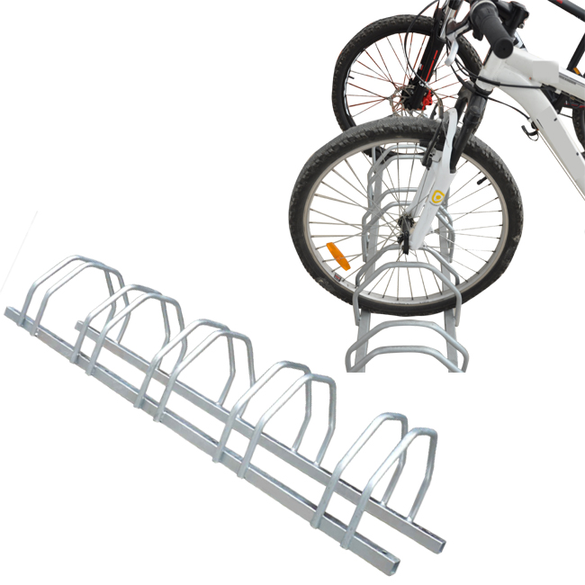 Floor mount galvanized bike rack for 5bikes