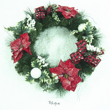 2018 Christmas Wreath Garland Door Hanging Decoration Home Xmas Party Silver Bowknot Ornaments Tree Christma Decoration