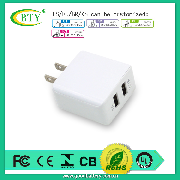 Souvenir Wall Charger Full Speed 2 Port USB Adaptor OEM Home Charger 2.1amp