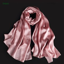 OEM Chinese Factory 100% Silk Satin Plain Pink Dyeing Scarf