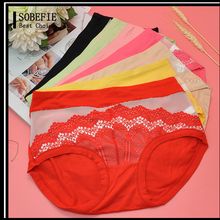 New Arrival Lace Young Girls in Transparent Sexy Mesh Underwear Women Middle Waist Brief Panties Model