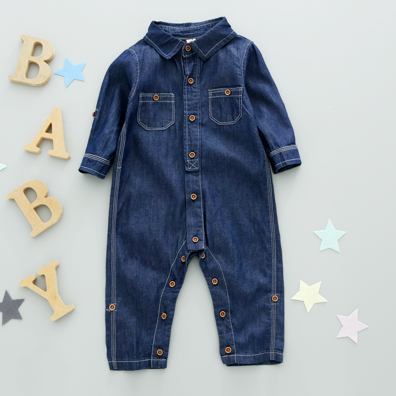 2017 ins children 's suits Hot autumn boys and girls cotton long-sleeved denim piece suit pick size