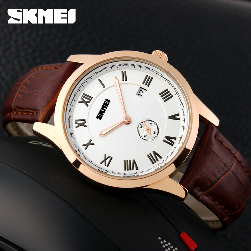 High quanlity luxury genuine leather mens watch water