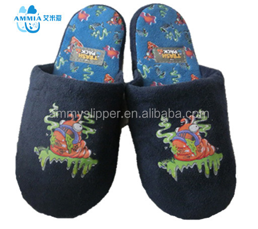 OEM good quality kid's animal embroidery winter warm indoor slippers factory