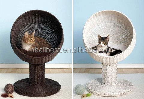 Popular wicker rattan cat house, rattan pet furniture and rattan cat furniture