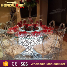 LED light hotel glass bar dining table