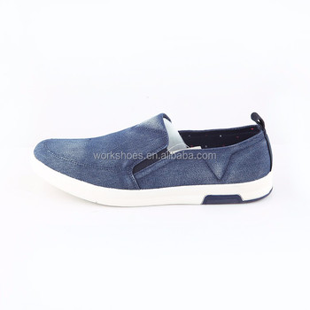 Blue Denim Slip On Custom Made Men Casual Shoes Flat Sneaker Shoes