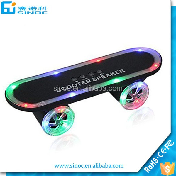 Christmas LED Flash scooters Mini bluetooth speakers wireless Skateboard speaker for sports
