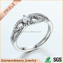 2015 wholesale white cz platinum plated rings 925 silver engagement rings for women