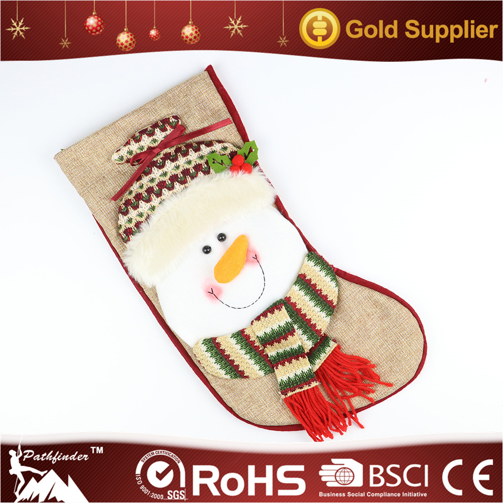 Christmas Decorative Cute Big Head Snowman Hanging Delicate Gift Socks