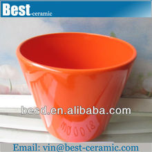 wholesale blank cheap orange ceramic flower pots