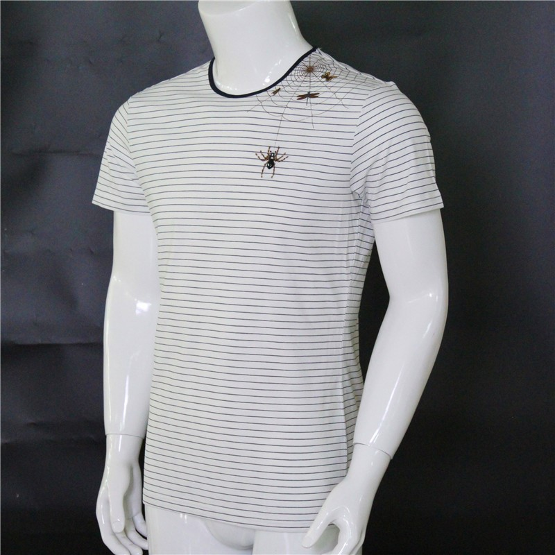 mens white t-shirt with spider logo beaded and heat-transfer printed customizable
