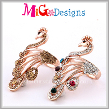 Wholesale Crystal Decro Gold Plated Peacock Shaped Animal Ring