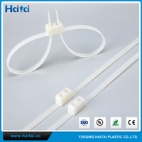 Haitai OEM High Strength White Nylon Plastic Double Sided Police Self Tie Handcuffs