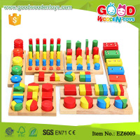 8 Pieces Montessori Materials Geometry Shape Sorter Cylinder Educational Toy Block Wood Teaching Aids