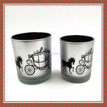 Horse-drawn vehicle retro design glass candle holder home decoration