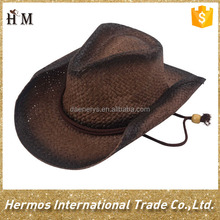 Hot promotional brown straw man cowboy hat with adjustable string