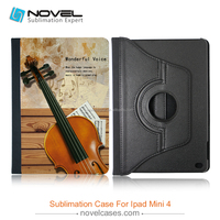 Rotating pu leather case for iPad mini4,sublimation protective case