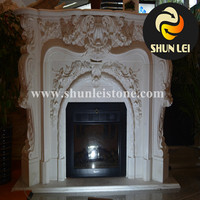 outdoor carving wood burning cast iron fireplace