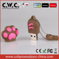 Customized PVC foot usb flash memory for gifts and toys with logo printing